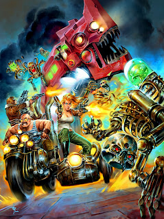 lukas thelin, fenix, red iron, sci fi art, action, motor cycle, skeletons, steam punk