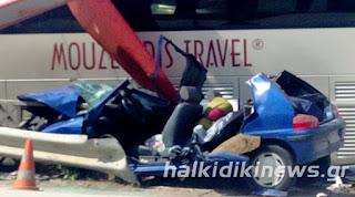 Θανατηφόρο τροχαίο στη Νικήτη Χαλκιδικής με έναν νεκρό - Σύγκρουση Ι.Χ.με λεωφορείο του Μουζενίδη