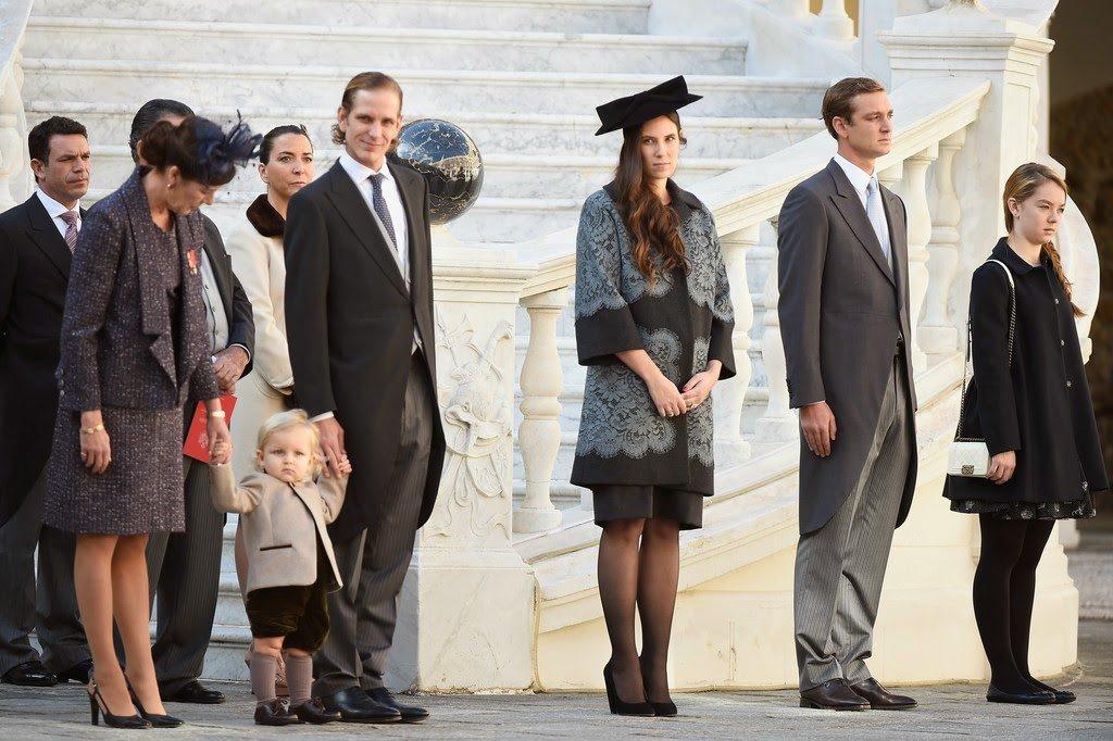 Princess Caroline of Hanover, Sacha Casiraghi, Andrea Casiraghi, Prince Albert of Monaco, Tatiana Santo Domingo and Pierre Casiraghi attend in Monaco Palace the celebrations marking Monaco's National Day