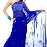 netted ink blue saree