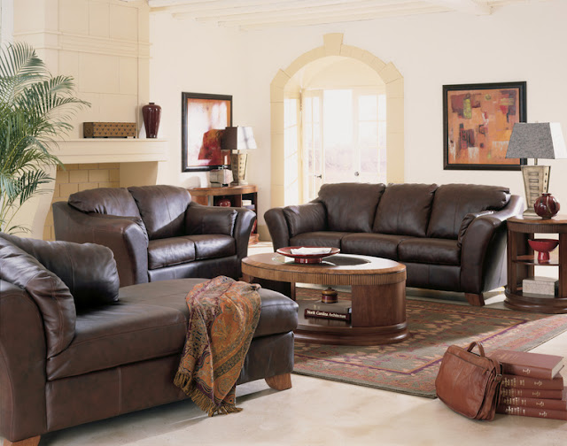 Livingroom beautiful furniture back 2 home for Brown leather living room decorating ideas