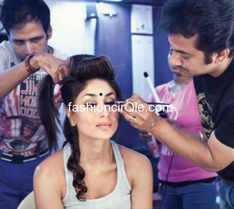 Kareena Kapoor behind the scene makeup - (14) - Kareena Kapoor on the sets of Halkat Jawani - Unseen Pics