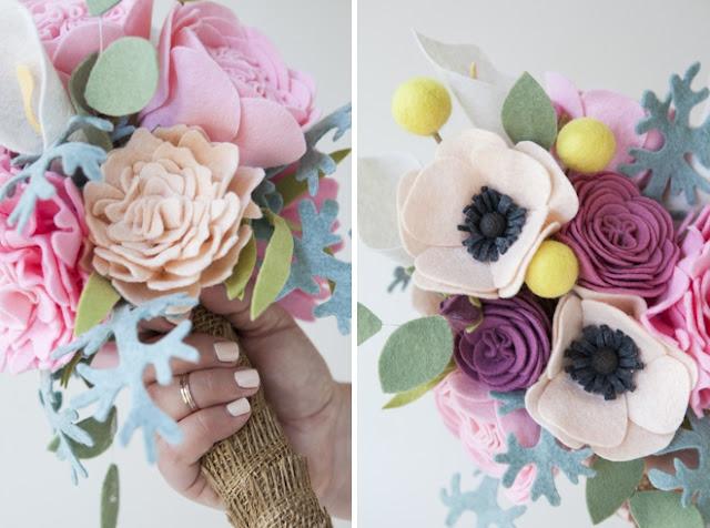 http://somethingturquoise.com/2014/06/27/how-to-make-a-felt-flower-wedding-bouquet/