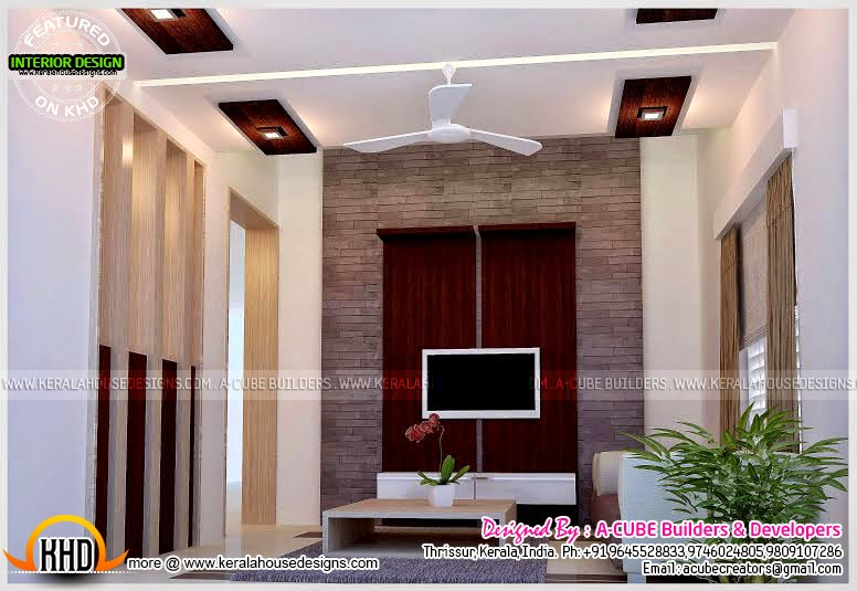 Living room interior design in kerala kerala home design for Living room interior in kerala