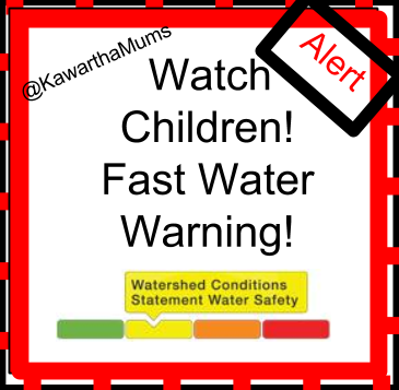 image Water Alert Kawartha Lakes Water Safety Warning -Watch Children! Shows meter at safety warning