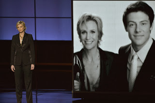 Jane Lynch speaking about her costar Cory Monteith at the Emmys
