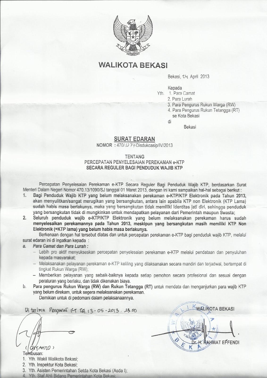 Contoh Surat Edaran Pemilihan Ketua Rt Surat F