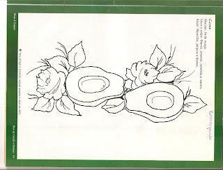 Risco para pintar tecido com abacates  e rosas