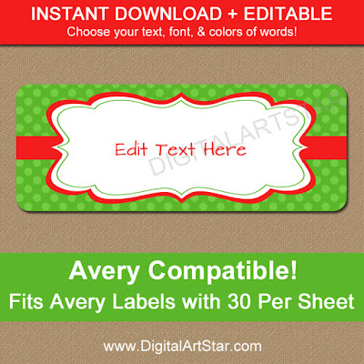 Green printable Christmas address labels with editable text