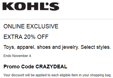 Kohls coupon 20% off toys, apparel, shoes, jewelry