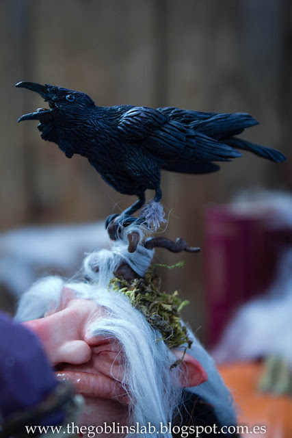 polymer clay handmade OOAK crow witch