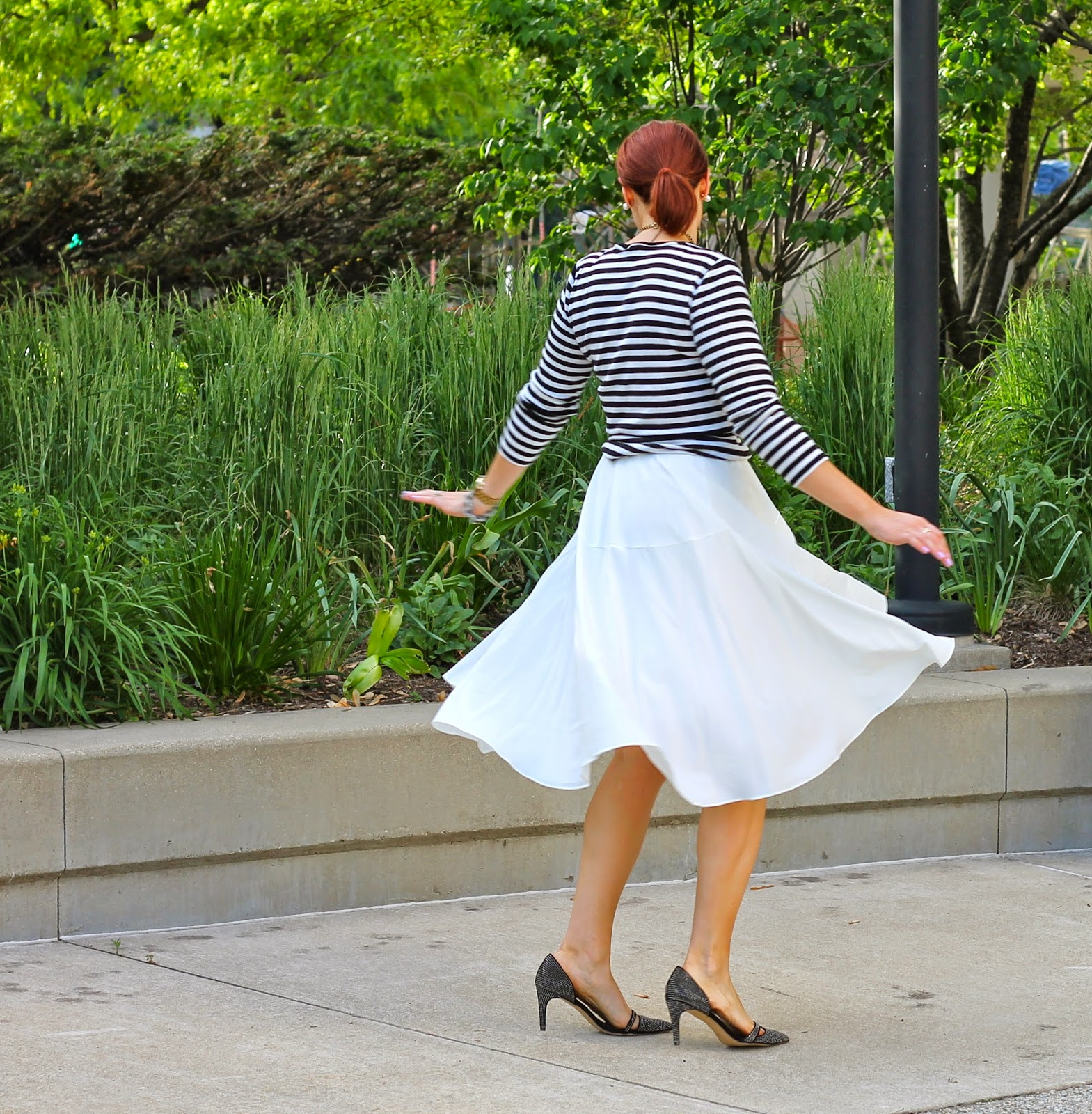 white, midi, skirt, striped, top, french, chicwish, twirl
