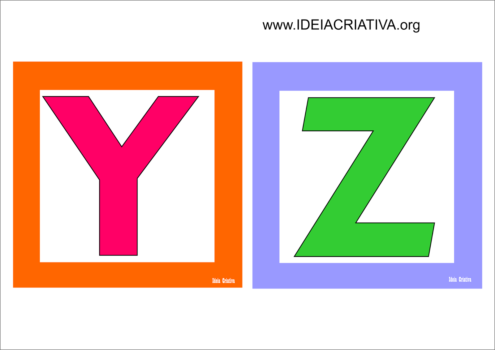 Alfabeto Quadradinho Colorido para Imprimir Grátis