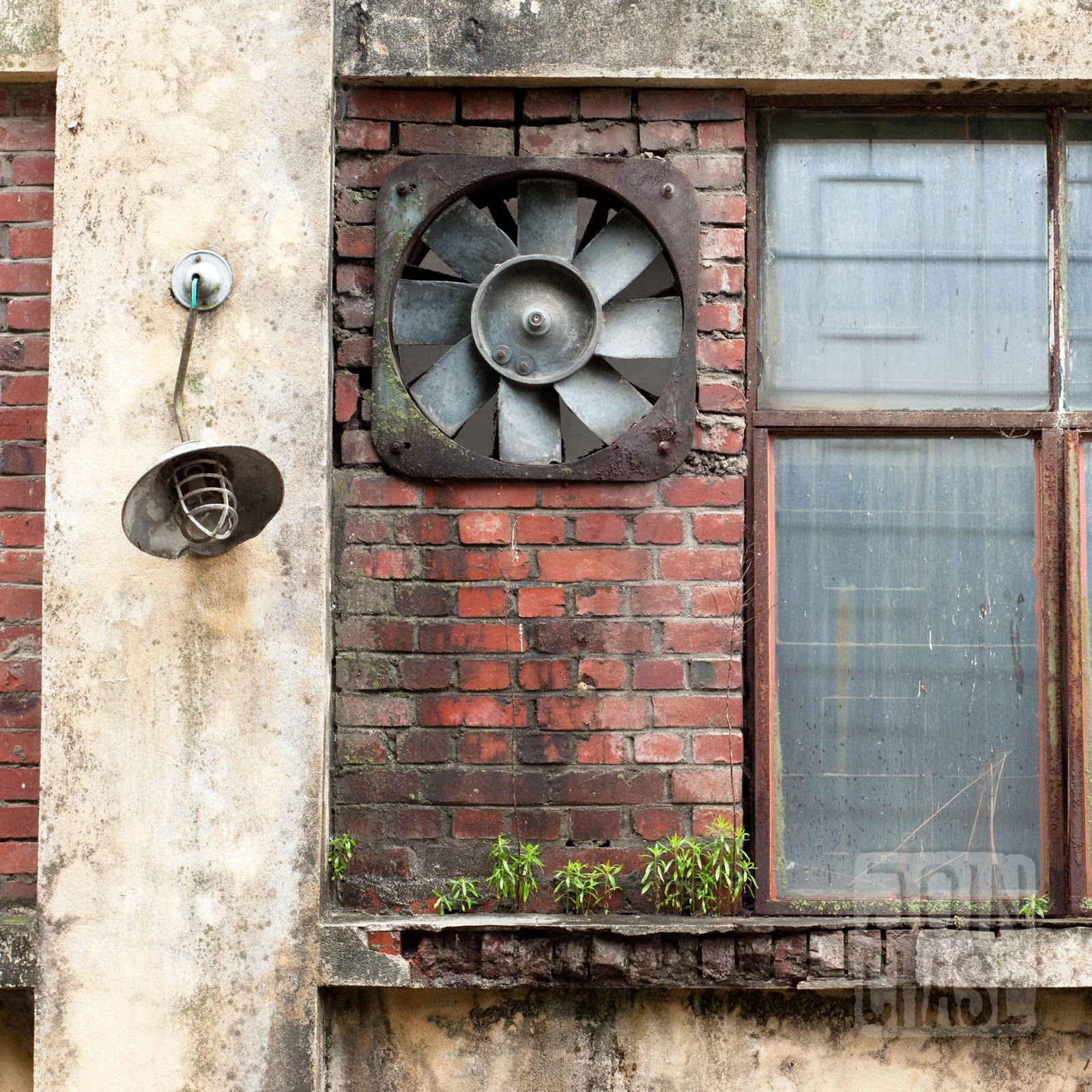 The outside of an old building along the Geum River Bike Path in South Korea.
