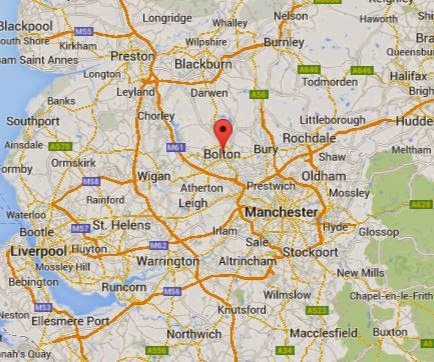 Map showing location of Bolton, Lancashire.