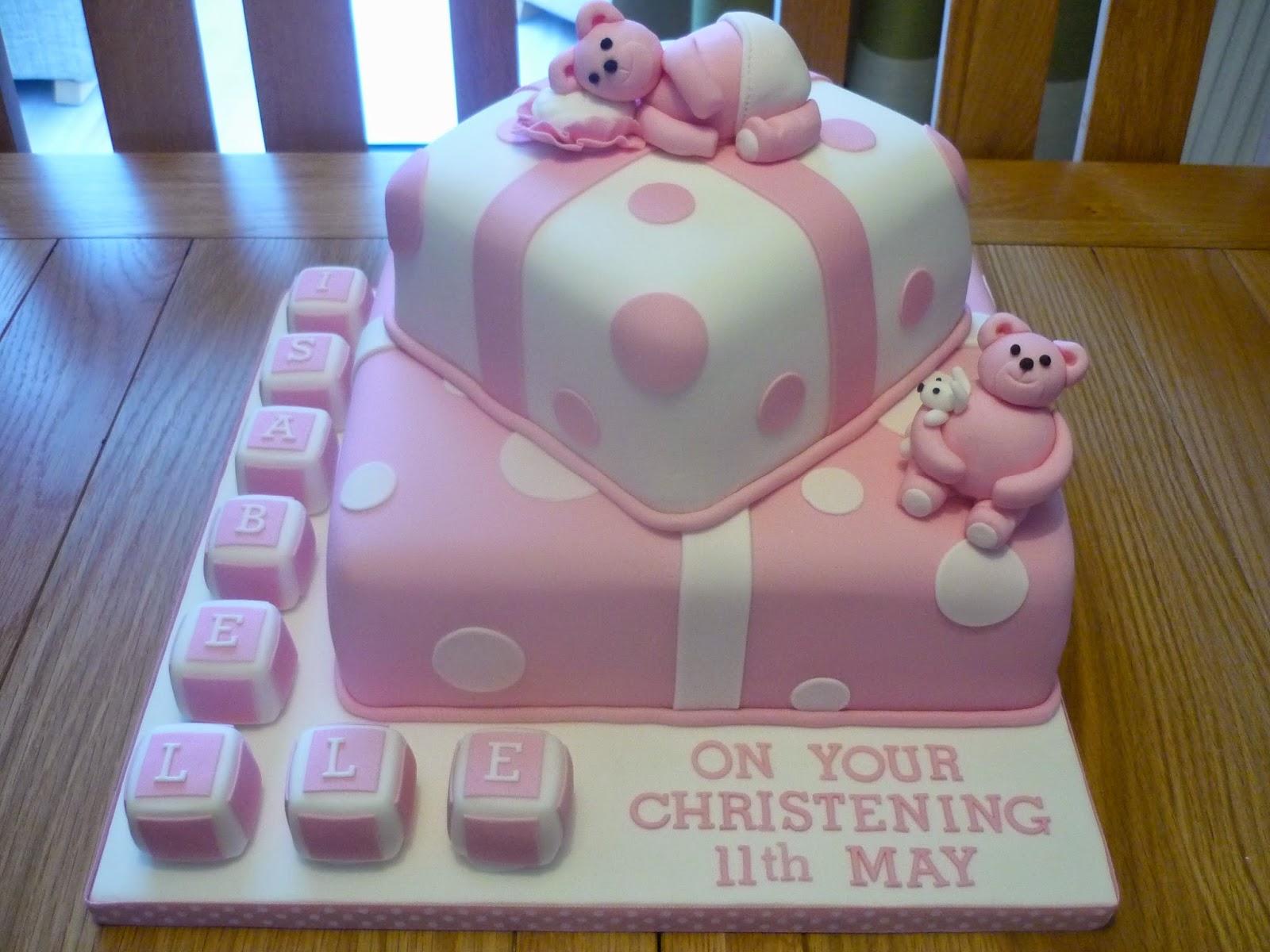 eat cakes by susan pink bear christening cake