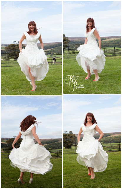 bride dancing, ronald joyce, victoria jane, wedding dress, fitted wedding dress, unusual veil, danby castle wedding, quirky wedding photography, katie byram photography, north east wedding, yorkshire wedding photography, whitby wedding, dogs at wedding, horse at wedding, pets at wedding