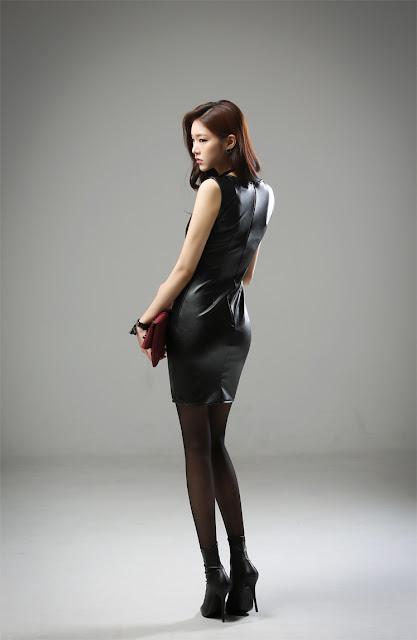 5 Jung Yun - Leather Dress - very cute asian girl-girlcute4u.blogspot.com