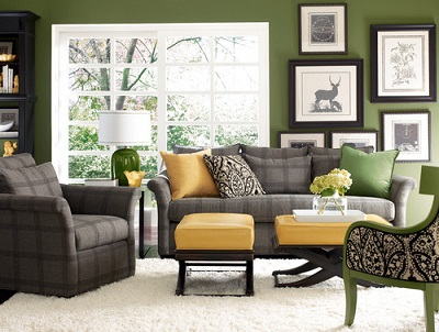 gray yellow green living room