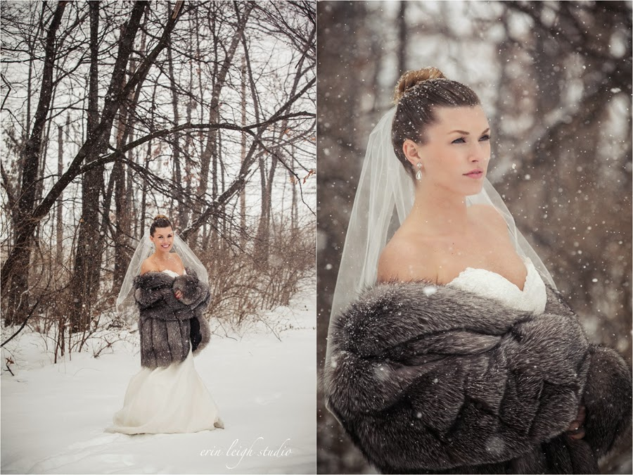 bride with fur jacket in snow
