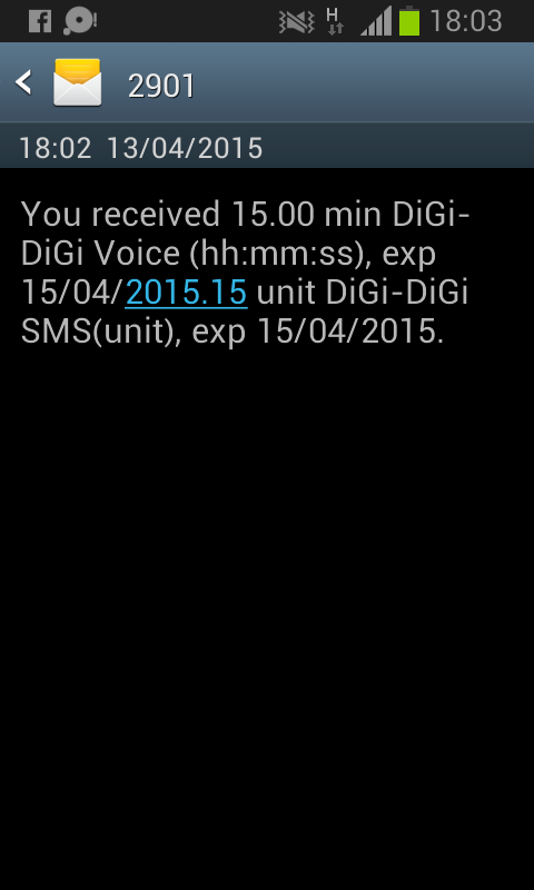 Digi 15 minutes and 15 units SMS