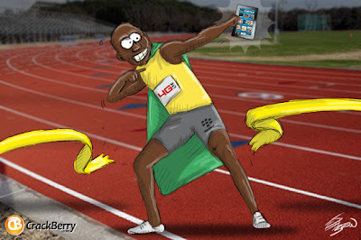 Usain Bolt use Blackberry Smartphone
