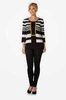 Bluza moderna, cu dungi crem si negre si detaliu galben ( )