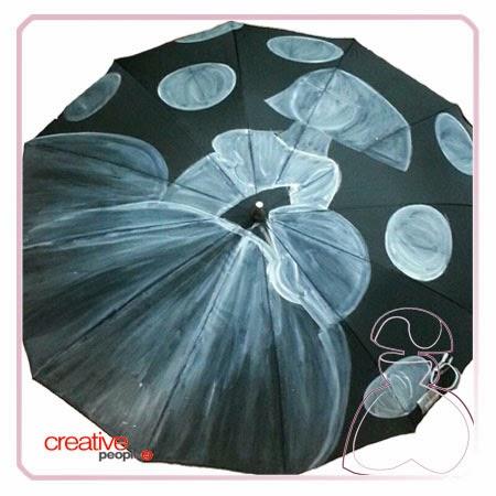 Pintar un paraguas a mano por Sylvia Lopez Morant, esbozo