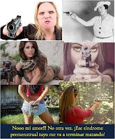 mujer agresiva pistola
