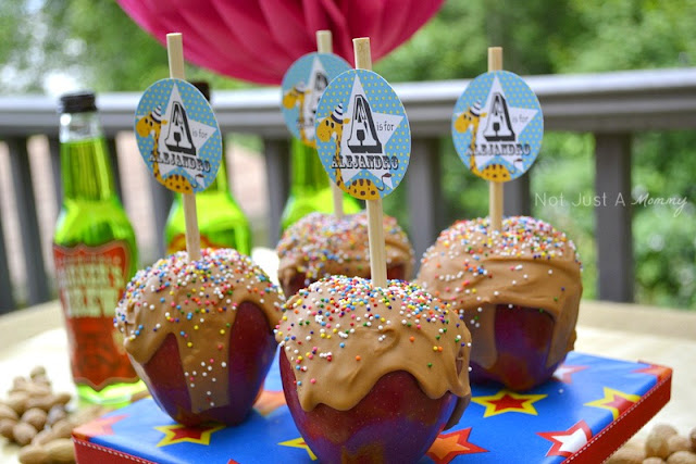 Run Away With The Circus party table fake caramel apples