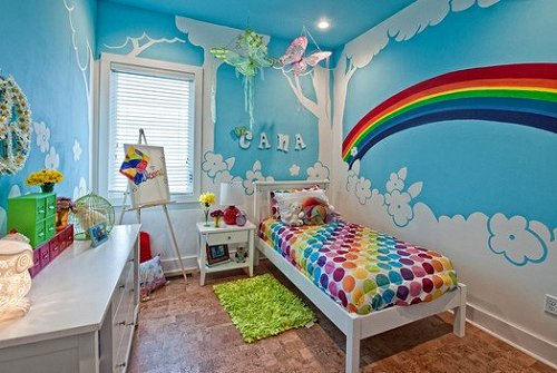 Decorating theme bedrooms maries manor rainbow theme for Children room mural