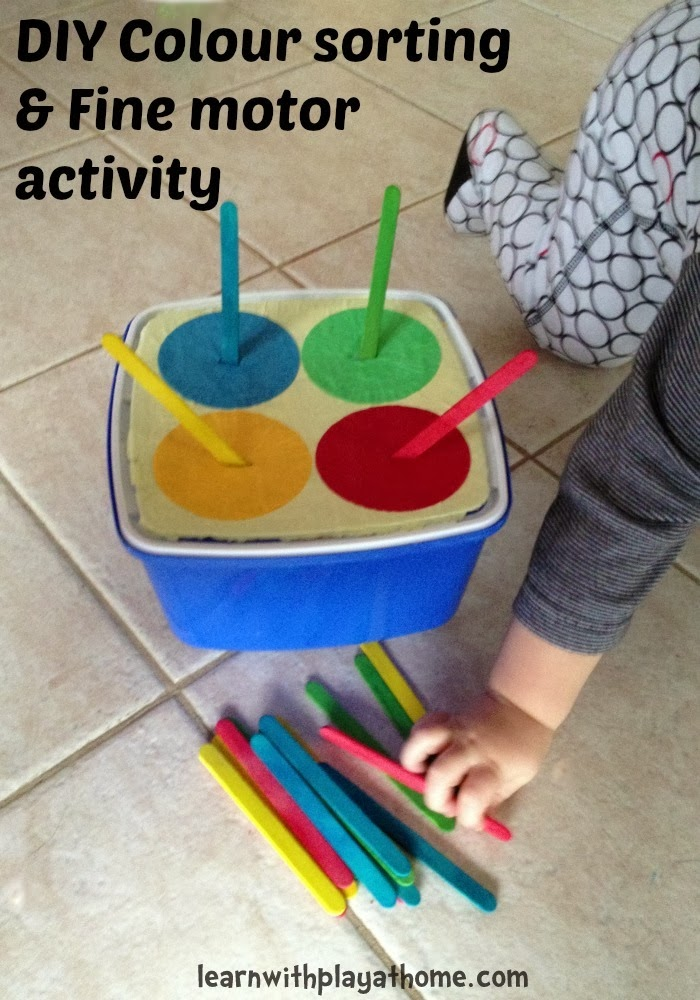 Learn with play at home simple diy colour sorting and for Fine motor skill activities for toddlers