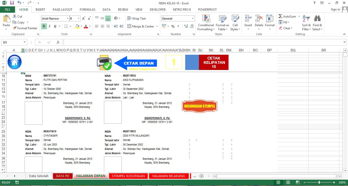 Aplikasi Cetak Kartu Nisn Format Excel Guru Galeri