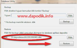 restore aplikasi database dapodik 2013