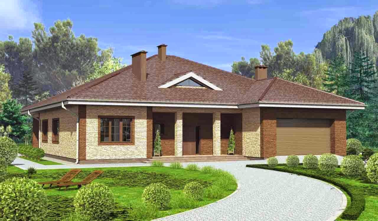 Дизайн фасада одноэтажных домов фото