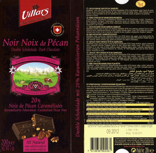 tablette de chocolat noir gourmand villars noir noix de pécan