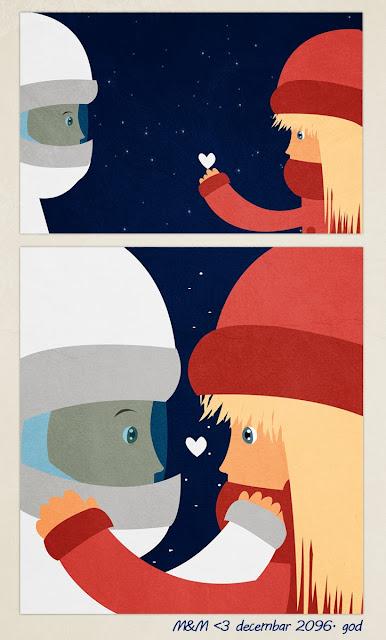 astronaut, girl, devojcica, ilustracija, space, love, future