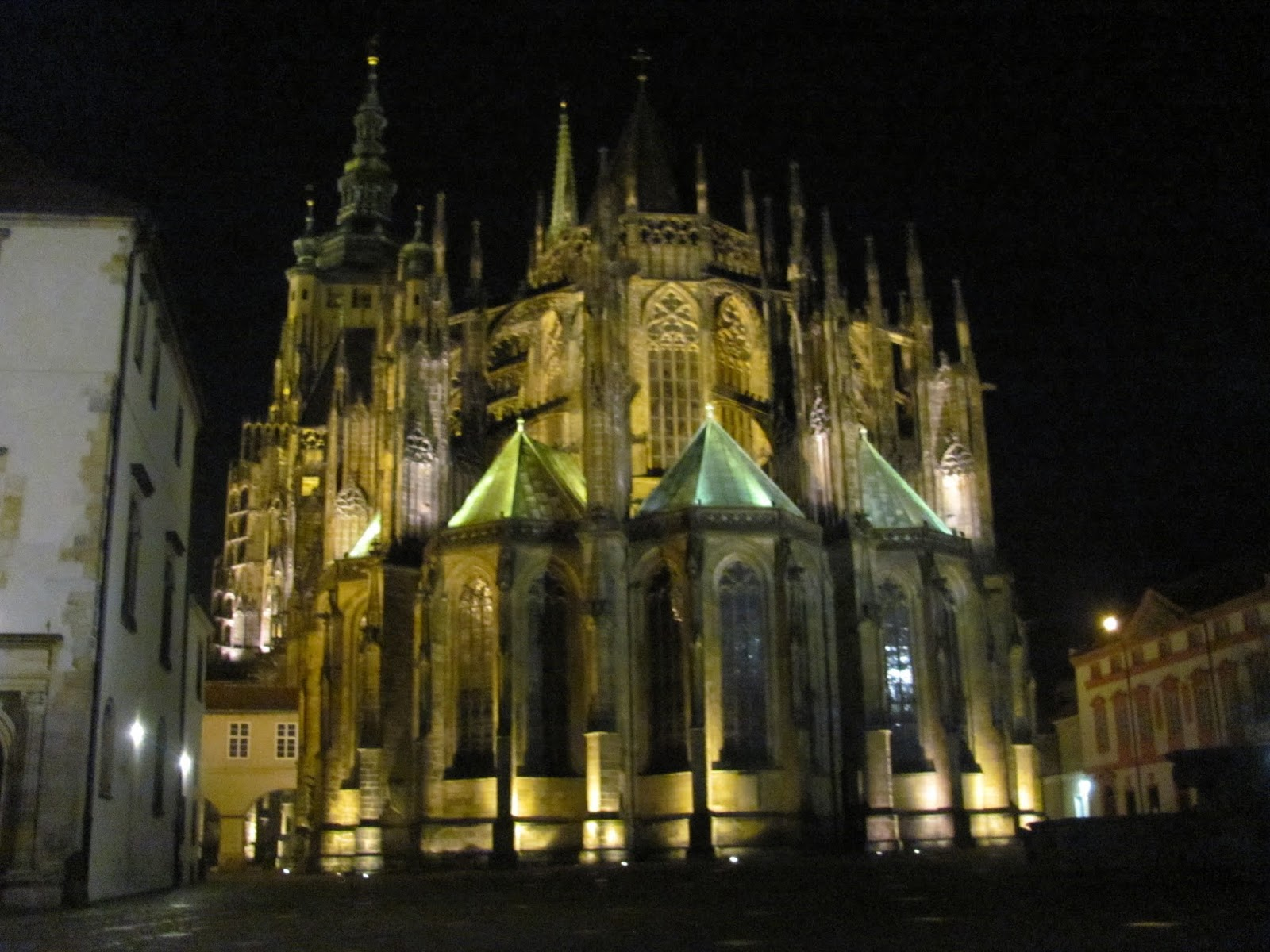 St. Vitus' Cathedral Buttresses at Night, Prague