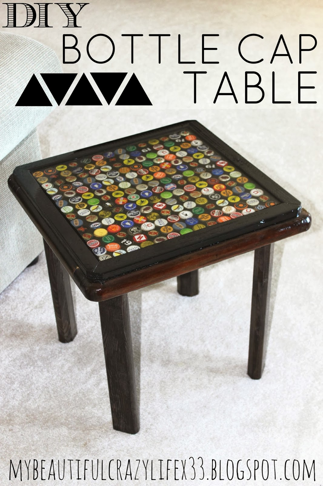 Diy bottle cap table mbcl for How to make a table out of bottle caps