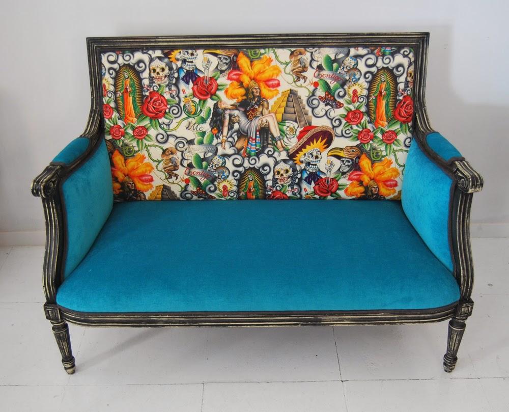 La tapicera sof estilo luis xvi tapizado con tela mexicana - Telas de tapizado ...