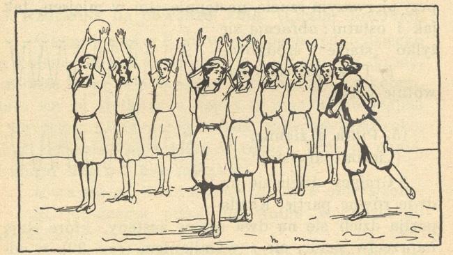 """fot. Maria Germanówna """"Ćwiczenia cielesne w szkole powszechnej : podręcznik dla nauczyciela. Cz. 2, Gry, zabawy oraz ćwiczenia na boisku"""" 1928"""