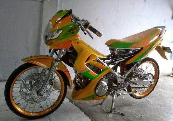 Modifikasi motor Satria FU drag