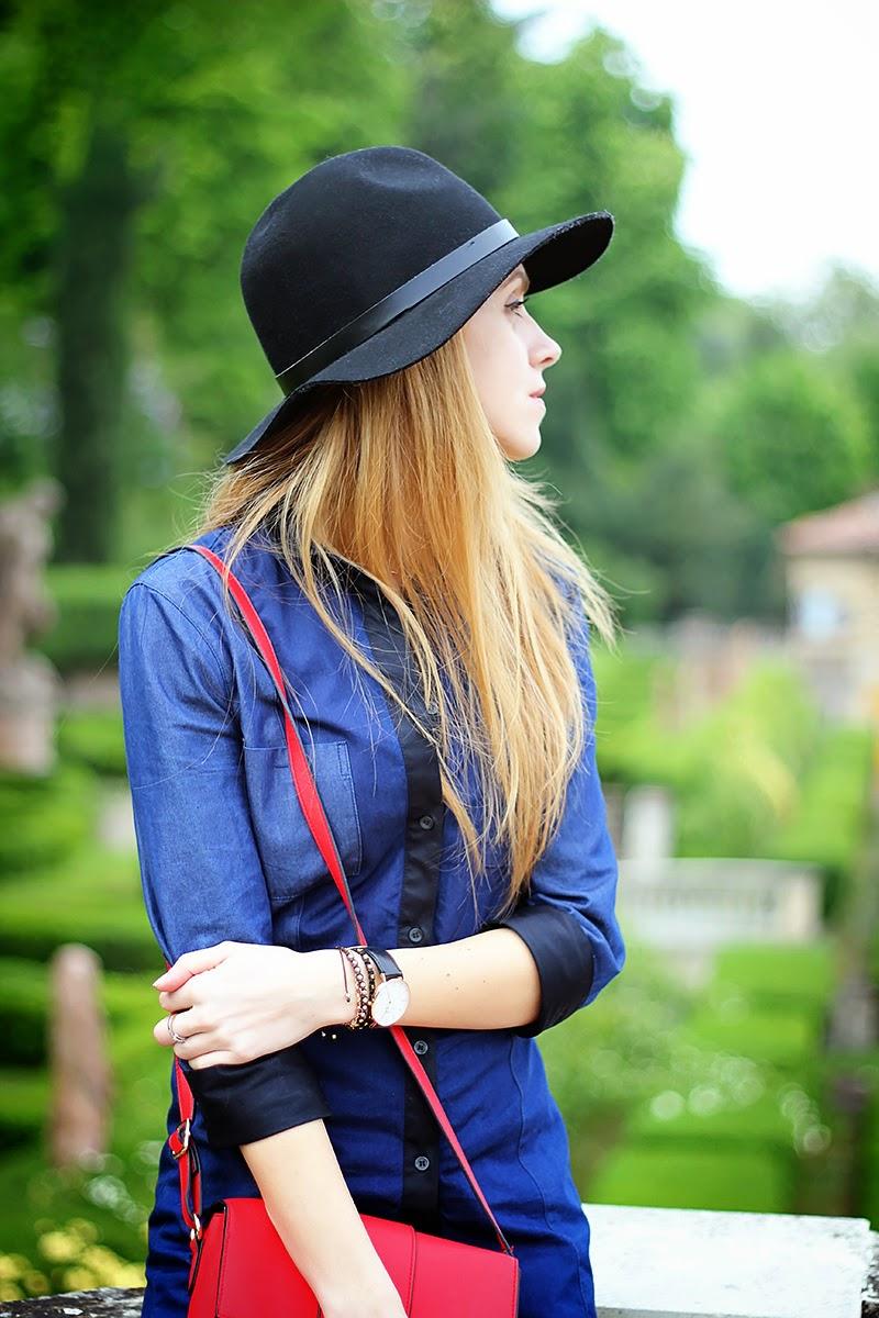 denim shirt, red crossbody bag, fedora