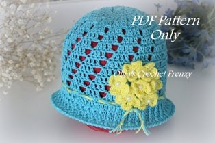 Girls Summer Hat Crochet Pattern, Size 3-5 Years Old, $3.25