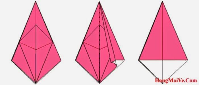 Bước 12: Lật lớp giấy bên phải của hình 1, theo chiều từ phải sang trái (hình 2) rồi gấp xuống được hình 3.