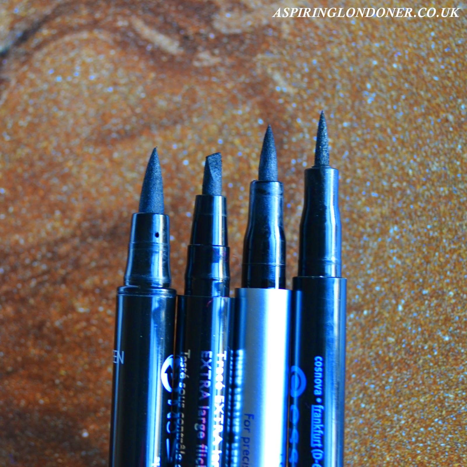 Eyeliner Pens ft Seventeen, Eyeko, Bourjois & Essence Swatch - Aspiring Londoner