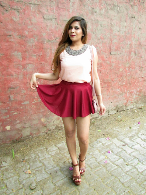 summer fashion, skater skirt, butterfly sleeve chiffon blouse, jeweled necklace top, how to style skater skirt, oink leather sling bag, fashion, indian fashion blogger, dresslink, cuter summer girly outfit, beauty , fashion,beauty and fashion,beauty blog, fashion blog , indian beauty blog,indian fashion blog, beauty and fashion blog, indian beauty and fashion blog, indian bloggers, indian beauty bloggers, indian fashion bloggers,indian bloggers online, top 10 indian bloggers, top indian bloggers,top 10 fashion bloggers, indian bloggers on blogspot,home remedies, how to