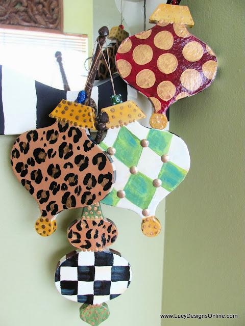 leopard print, studded paper mache Christmas ornaments