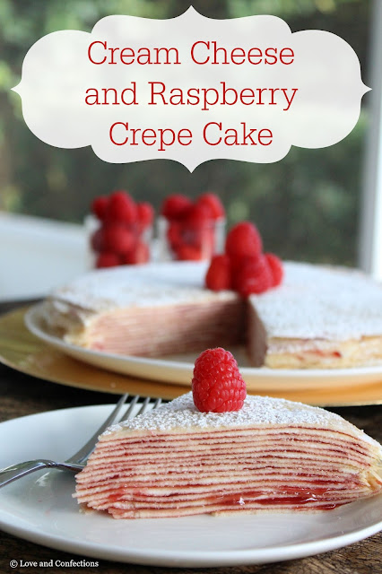Cream Cheese and Raspberry Crepe Cake from LoveandConfections.com
