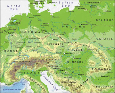 Maps of Central Europe Countries